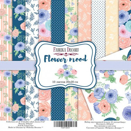 Set of scrapbooking papers 20x20- Fabrika Decoru - Flower mood