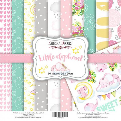 Set of scrapbooking papers 20 x 20 - Fabrika Decoru - Little elephant