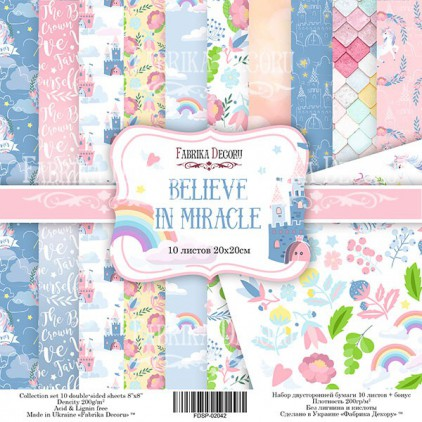 Set of scrapbooking papers 20 x 20 - Fabrika Decoru - Believe in miracle
