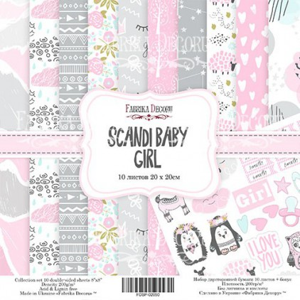 Set of scrapbooking papers 20 x 20 - Fabrika Decoru - Scandi Baby Girl