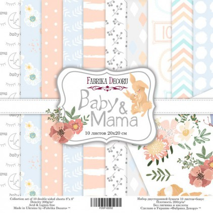 Set of scrapbooking papers 20 x 20 - Fabrika Decoru - Baby and mama