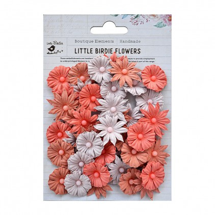 Paper flower set - Little Birdie - Valerie Peach & Cream - 48 flowers