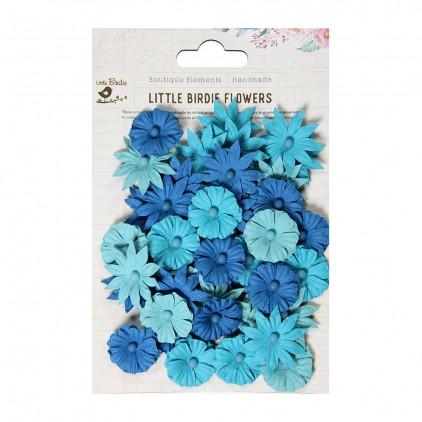 Papierowe kwiaty do rękodzieła - Little Birdie - Valerie Brisk Blue - 48 kwiatków