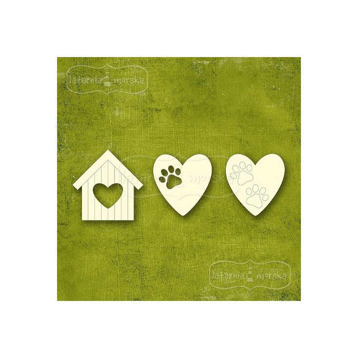 Latarnia Morska - Cardboard element - Kitten and dog - booth, paws and hearts