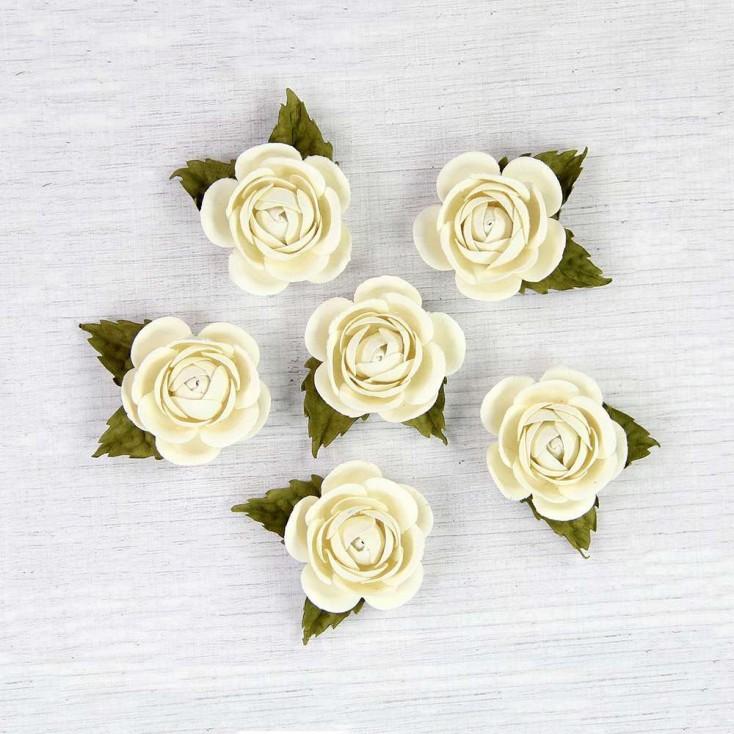 Papierowe kwiaty do rękodzieła - Little Birdie - Sharon Celeste  - 6 kwiatków
