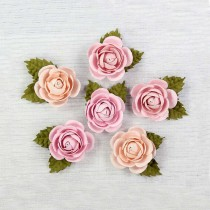 Paper pink roses - Little Birdie - Sharon Blush  - 6  flowers