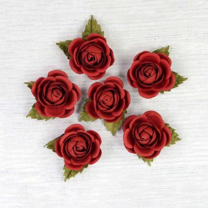 Papierowe czerwone róże - Little Birdie - Sharon Cherry  - 6 kwiatków