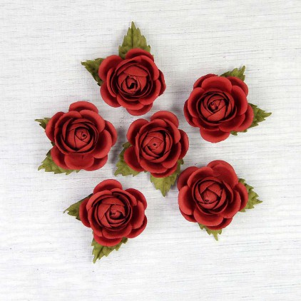 Set of paper red roses - Little Birdie - Sharon Cherry  - 6  flowers