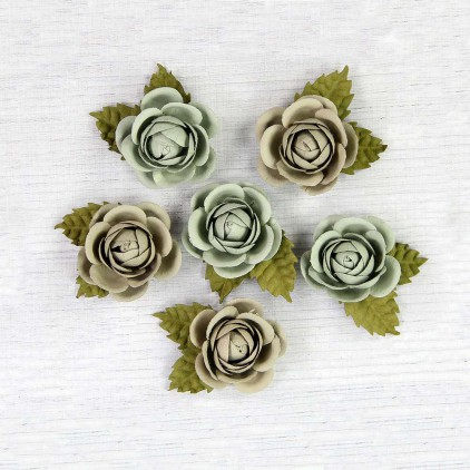 Paper roses, patina - Little Birdie - Sharon Sage - 6 flowers