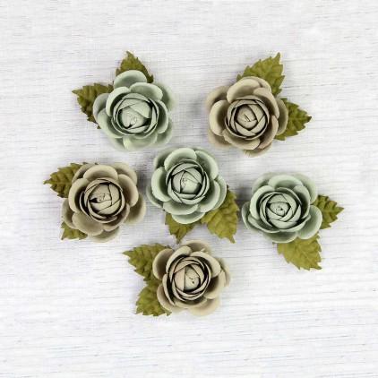 Papierowe róże patyna - Little Birdie - Sharon Sage - 6 kwiatków