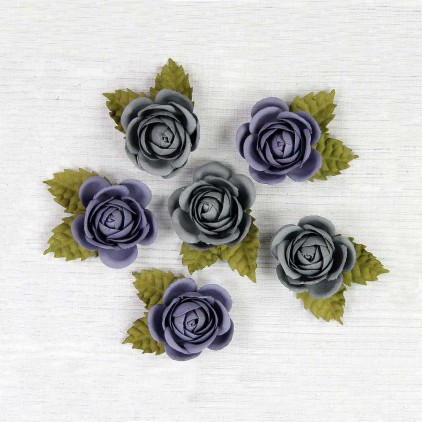 Papierowe róże szare i fioletowe - Little Birdie - Sharon Troppical Starburst - 6 kwiatków