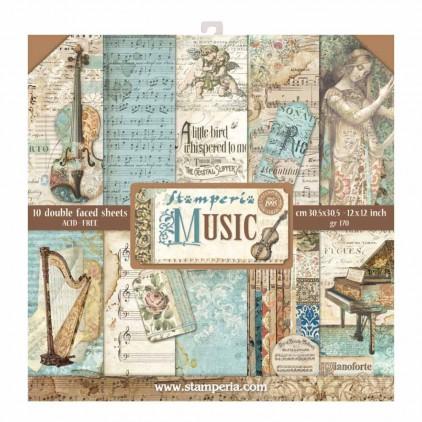 Zestaw papierów do tworzenia kartek i scrapbookingu - Stamperia - Music