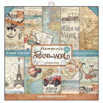 Zestaw papierów do tworzenia kartek i scrapbookingu  - Stamperia - Around the world