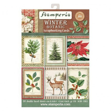 Stamperia - Set of scrapbooking cards - Winter Botanic