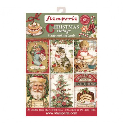 Zestaw kart do scrapbookingu - Stamperia - Christmas Vintage