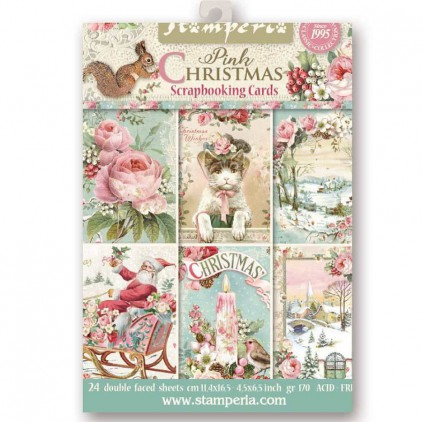 Stamperia - Set of scrapbooking cards - Pink Christmas