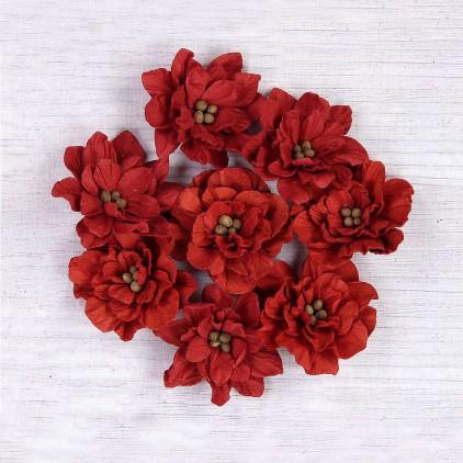 Papierowe kwiaty czerwone - Little Birdie - Serenade Cherry - 8 kwiatków
