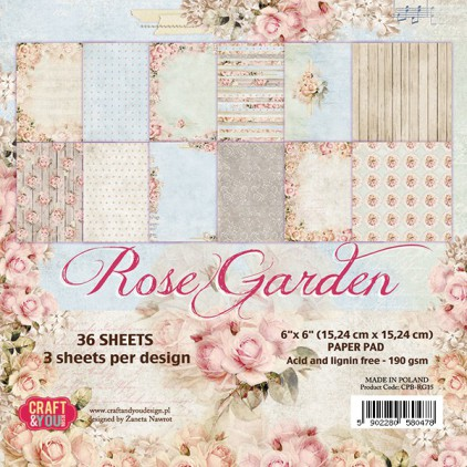 Mały bloczek papierów do scrapbookingu - Craft and You Design - Rose Garden
