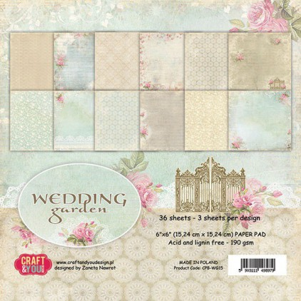 Mały bloczek papierów do scrapbookingu - Craft and You Design - Wedding Garden