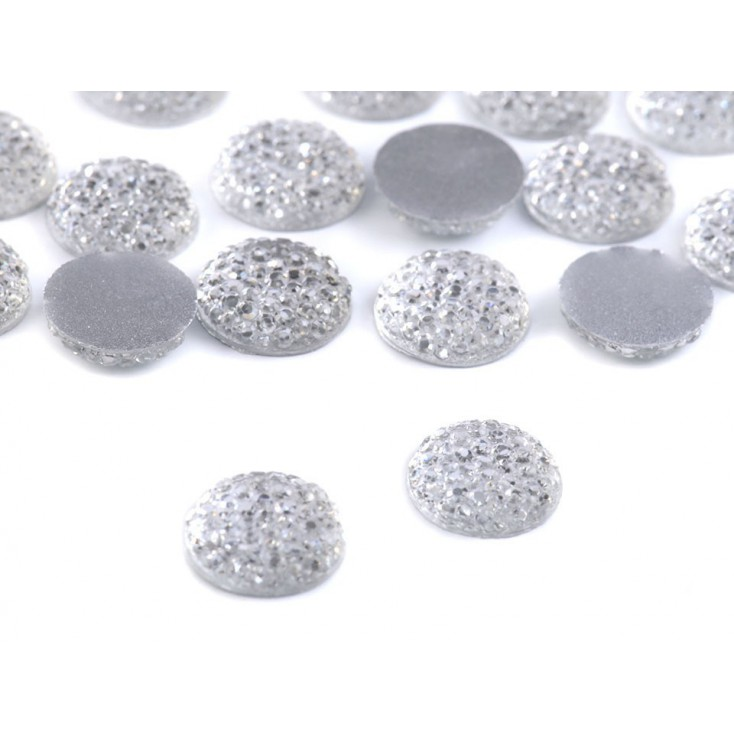 Ground pebbles, cabochon, means for flowers 1.2 cm - flat