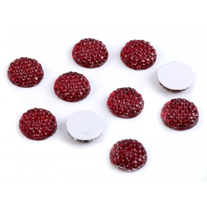 Ground pebbles, cabochon, means for flowers 1,2 cm - red