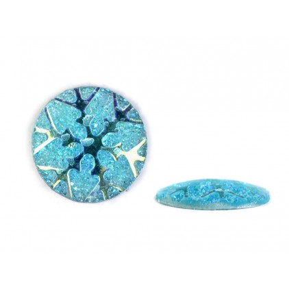 Ground pebbles, cabochon, snow flake 1,1 cm - blue