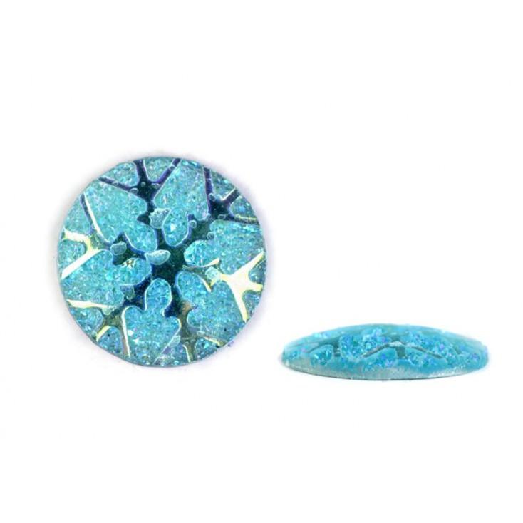 Ground pebbles, cabochon, snow flake 1,1 cm - blue