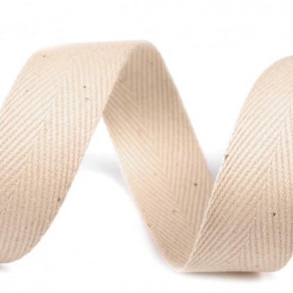 Taśma bawełniana - szerokość 20mm - 1 metr - Jasnobeżowa