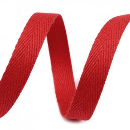Taśma bawełniana - szerokość 1cm - 1 metr - Czerwona