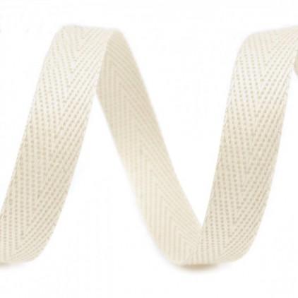 Taśma bawełniana - szerokość 1cm - 1 metr - Kremowa