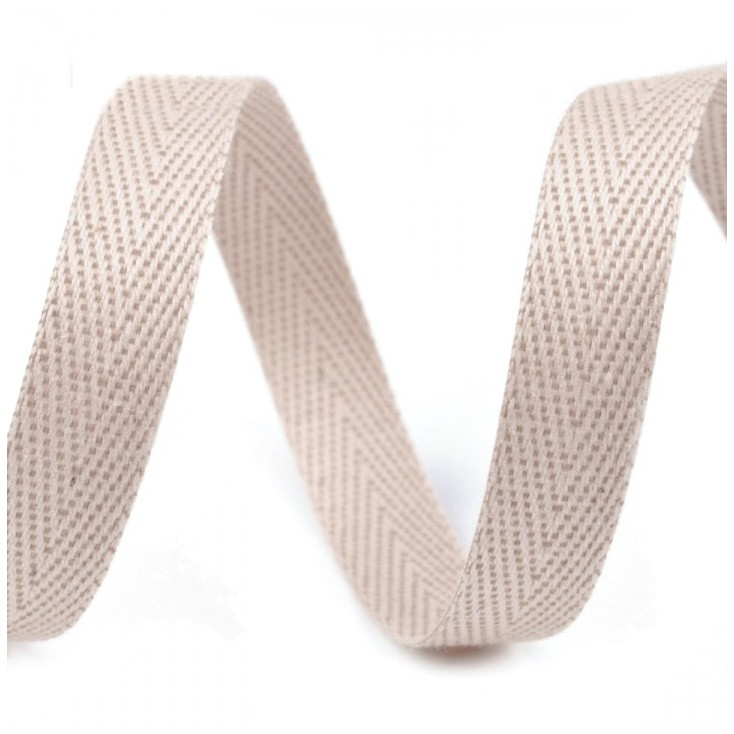 Taśma bawełniana - szerokość 1cm - 1 metr - Beżowa