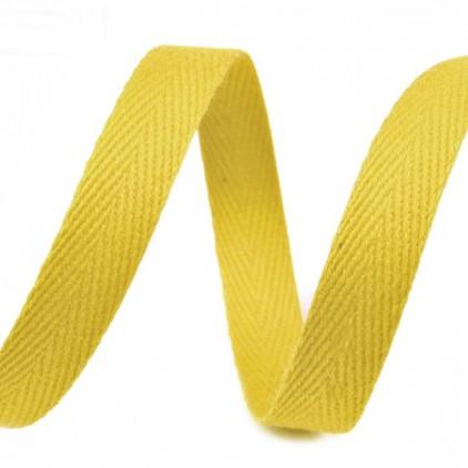 Taśma bawełniana - szerokość 1cm - 1 metr - Jasnożółta