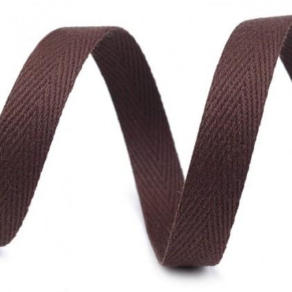 Taśma bawełniana - szerokość 1cm - 1 metr - Ciemnobrązowa