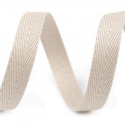 Taśma bawełniana - szerokość 12mm - 1 metr - Naturalna