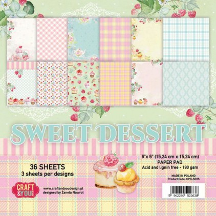Craft and You Design - Pad of scrapbooking papers - Sweet Dessert