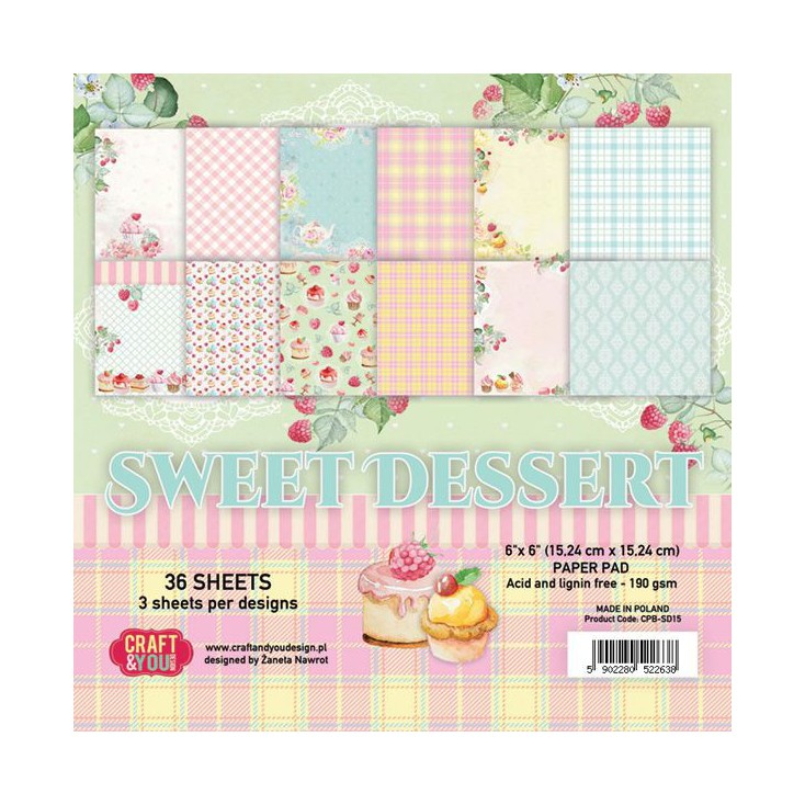 Craft and You Design - Mały bloczek papierów do scrapbookingu - Sweet Dessert