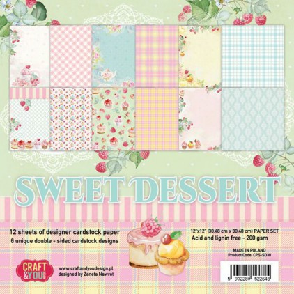 Zestaw papierów do scrapbookingu - Craft and You Design - Sweet Dessert