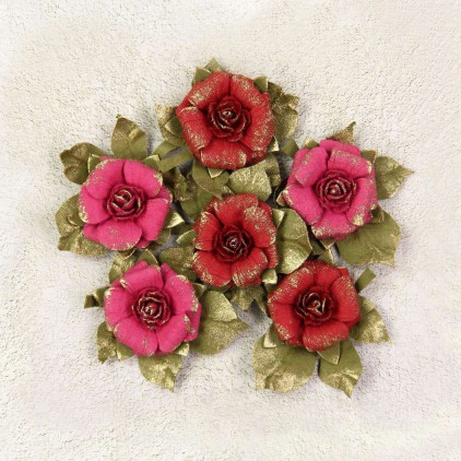 Paper flower set - Little Birdie - Victorian Rosella Passion- 6 flowers