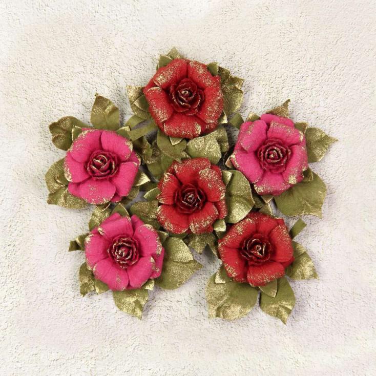 Papierowe kwiaty do rękodzieła - Little Birdie - Victorian Rosella Passion- 6 kwiatków