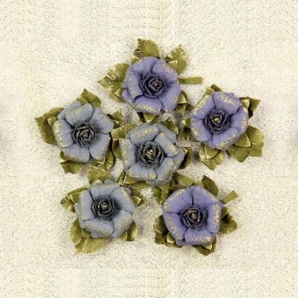 Papierowe kwiaty do rękodzieła - Little Birdie - Victorian Rosella Tuscan Grey- 6 kwiatków