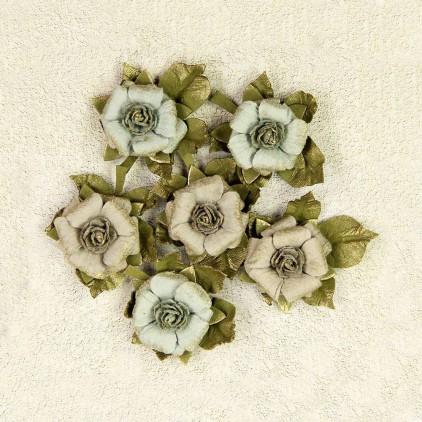 Paper flower set - Little Birdie - Victorian Rosella Sage - 6 flowers