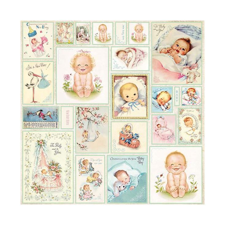 Papier z obrazkami retro - Craft and You Design - Papier do scrapbookingu - New Baby Born 07