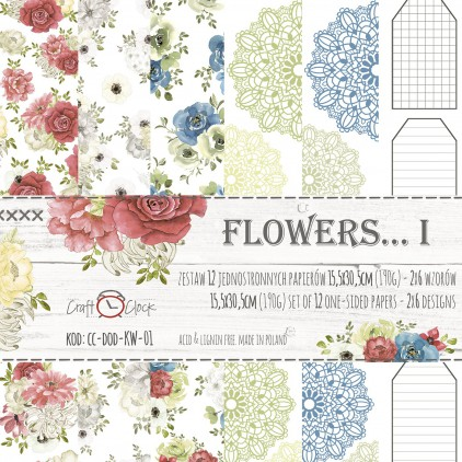 Set of scrapbooking papers - Craft O Clock - Flowers... I