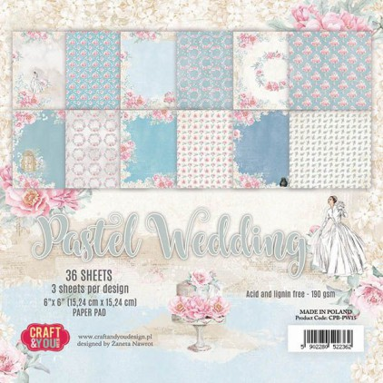 Craft and You Design - Pad of scrapbooking papers - Pastel Wedding
