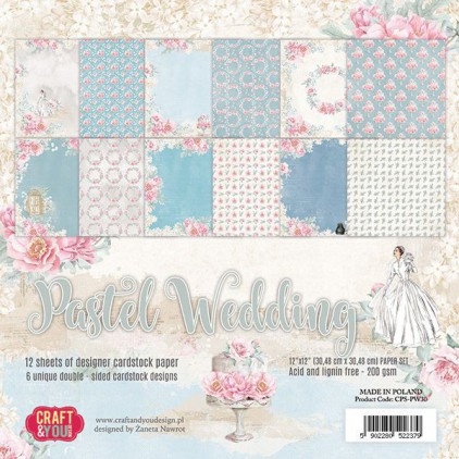 Set of scrapbooking papers - Craft and You Design - Pastel Wedding