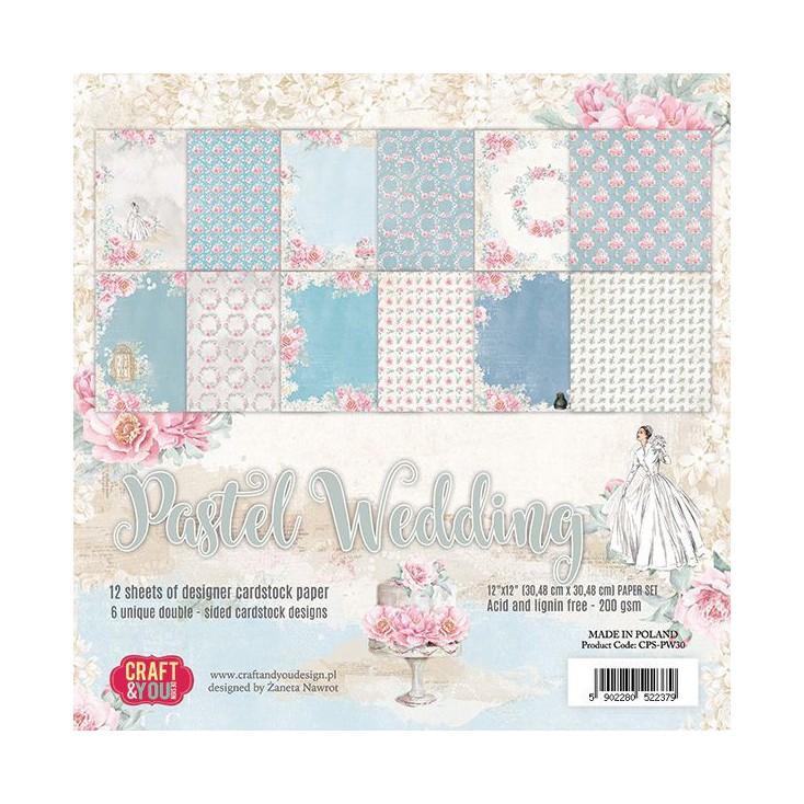 Zestaw papierów do scrapbookingu - Craft and You Design - Pastel Wedding