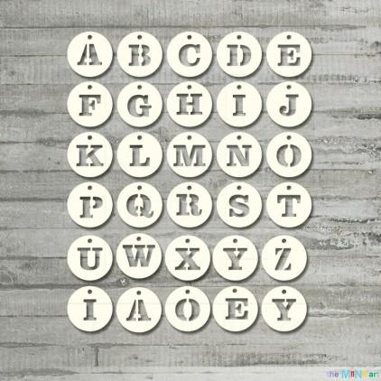 the MiNi art - tekturka - Alfabet - kółka zawieszki