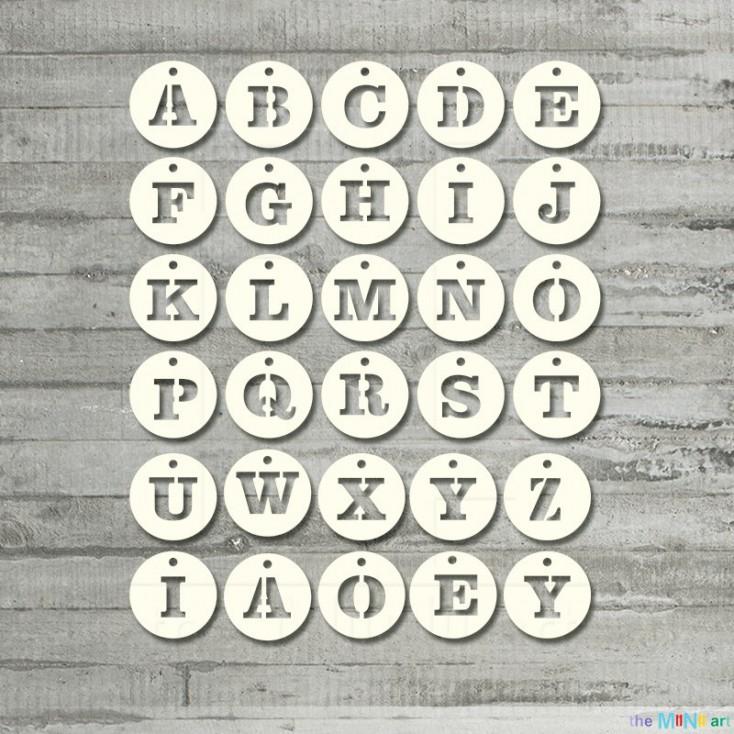 the MiNi art - Cardboard element - Alphabet - pendant rings