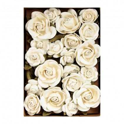 Paper flower set - Little Birdie - Fiona Moon LIght- 28  flowers