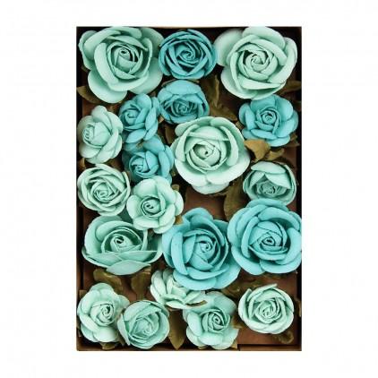 Paper flower set - Little Birdie - Fiona Arctic Ice- 28 flowers